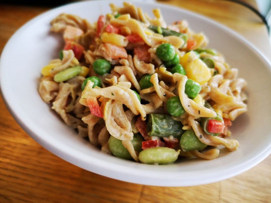 IMG 20190414 124635 01 1024x768 - Salade de pâtes minute aux grains anciens et seitan provençal